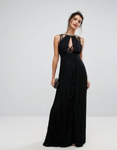 Read more about Tfnc high neck embellished maxi dress with lace insert - black