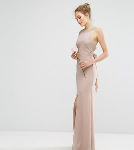 Read more about Tfnc wedding chiffon maxi dress with tonal embellishment and tie detail