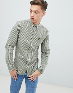Read more about Lyle scott slim fit buttondown gingham check shirt with stretch in green - green