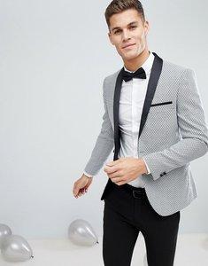 Read more about Moss london skinny jacquard blazer - black white