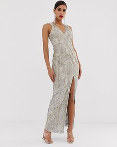 Read more about Bariano embellished metallic lace maxi dress in silver