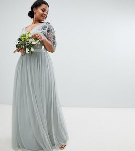 Read more about Maya plus embellished tulle sleeve maxi tulle dress - green lily
