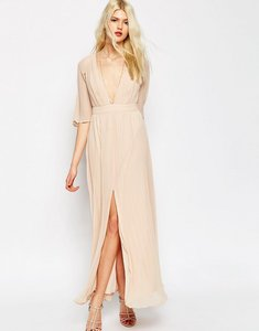 Read more about Asos pleated flutter sleeve maxi dress - nude