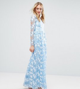 Read more about True decadence tall premium 3d lace applique maxi dress - soft blue
