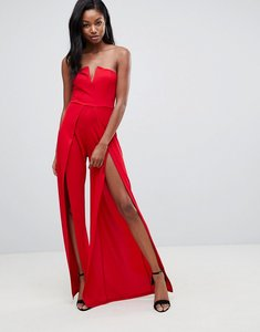 Read more about Club l structured v bandeau jumpsuit with split leg detail - red
