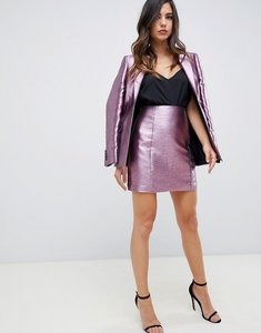 Read more about Asos design high waist mini skirt in metallic - pink