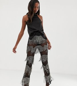 Read more about Asos design tall embellished flare trouser with sequins and beads