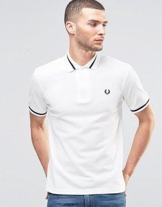 Read more about Fred perry laurel wreath polo shirt single tipped pique in slim fit - white