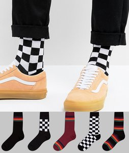 Read more about Asos socks with stripe checkerboard design 5 pack - multi