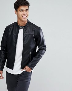 Read more about Solid faux leather jacket with biker collar - 9000