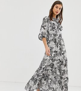 Read more about Reclaimed vintage inspired mono print maxi dress with open back - multi