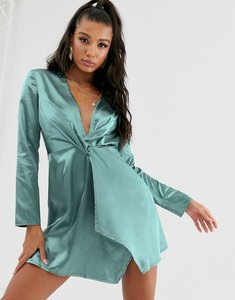 Read more about Saint genies knot front satin mini swing dress in sage green