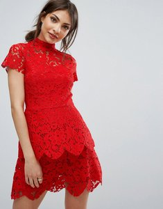 Read more about Missguided high neck double layer lace dress - red