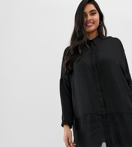 Read more about Asos design curve soft shirt in sheer and solid - black