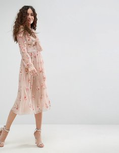 Read more about Needle thread floral embellished long sleeve dress with tie neck - petal pink