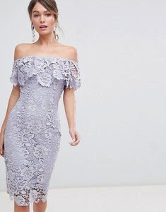 Read more about Paper dolls ruffle bardot lace midi dress - oyster grey