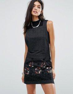 Read more about Anna sui pansy applique denim dress - black multi