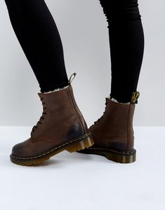 Read more about Dr martens serena 8 eye boots - dark brown burnished