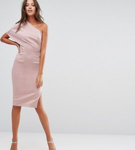 Read more about Asos tall one shoulder scuba deep fold midi dress with exposed zip - mink