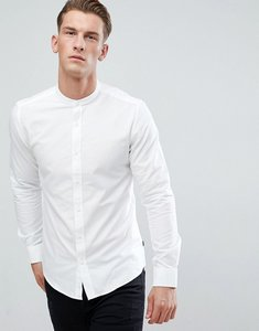Read more about Only sons slim fit oxford shirt with grandad collar - white
