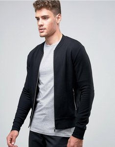 Read more about Jack jones premium slim zip sweat bomber - black