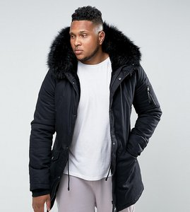 Read more about Sixth june plus parka jacket in black with faux fur hood - black black