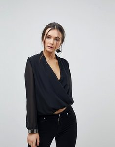 Read more about Qed london cross front blouse - black silver