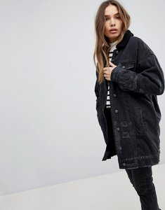 Read more about Pull bear longline fur collar denim jacket - black