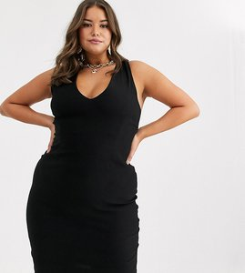 Read more about Vesper curve midi stretch dress with strappy back in black