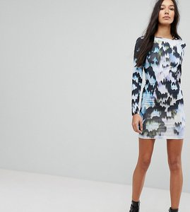 Read more about Asos tall mini bodycon dress with puff sleeves in marble print - multi