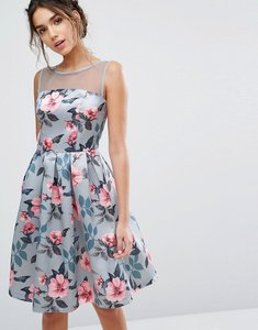 Read more about Chi chi london floral print midi dress in sateen - blue floral