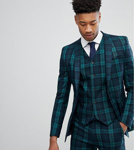 Read more about Asos tall super skinny suit jacket in blackwatch tartan - green