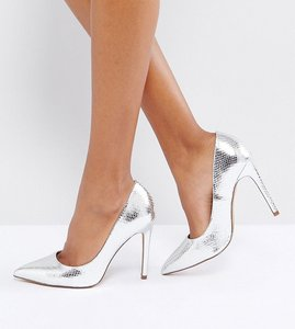 Read more about Asos paris pointed high heels - silver snake