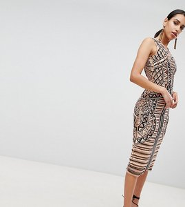 Read more about A star is born embellished placement midi pencil dress - multi