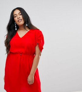 Read more about Asos curve mini tea dress with elasticated waist - red