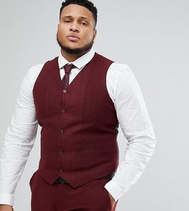 Read more about Asos plus wedding super skinny suit waistcoat in wine herringbone - burgundy