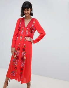 Read more about Asos design embroidered maxi dress with long sleeves - red