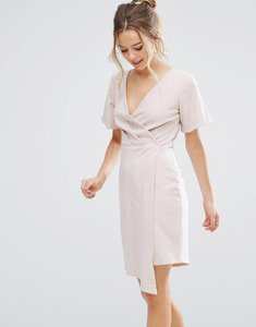 Read more about Closet london v front wrap dress - nude