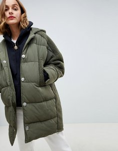 Read more about Asos design borg panelled padded jacket - khaki
