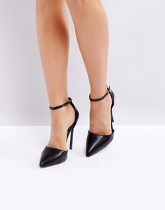 Read more about Prettylittlething black ankle strap pointed court shoe - black