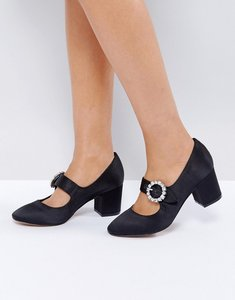 Read more about Asos sunshine jewelled buckle mid heels - black satin