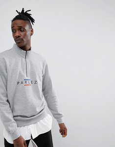 Read more about Parlez 1 4 zip sweat with embroidered line chest logo in grey - grey