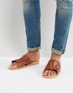 Read more about Dune woven sandals in tan leather - tan