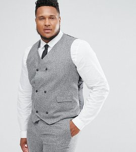 Read more about Asos plus wedding skinny suit waistcoat in 100 silk textured grey - light grey