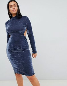 Read more about Prettylittlething high neck open back velvet midi dress - grey blue