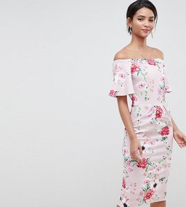 Read more about Silver bloom printed bandeau dress with frill sleeve in multi - pink floral
