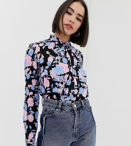 Read more about Monki floral print blouse in black