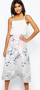 Read more about Asos petite wrap prom midi skirt in floral print - multi