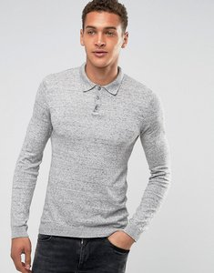 Read more about Asos knitted muscle fit polo in grey - grey