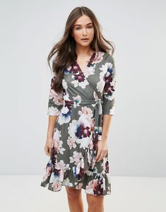 Read more about Qed london wrap floral midi dress with ruffle - green floral print